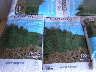 Sacs de granulés de bois en livraison ou sur place